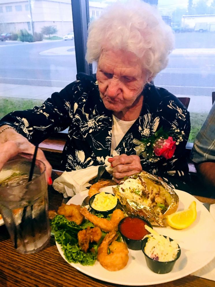 PHOTO: Helen Self, 109, orders the same thing for her birthday dinner every year at The Montana Club: Prawns, salad and a baked potato with everything on it.