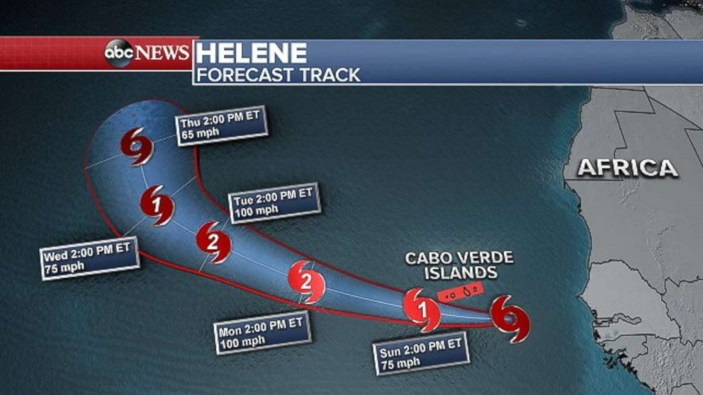 PHOTO: Helene is not posing a threat to land in the near future.