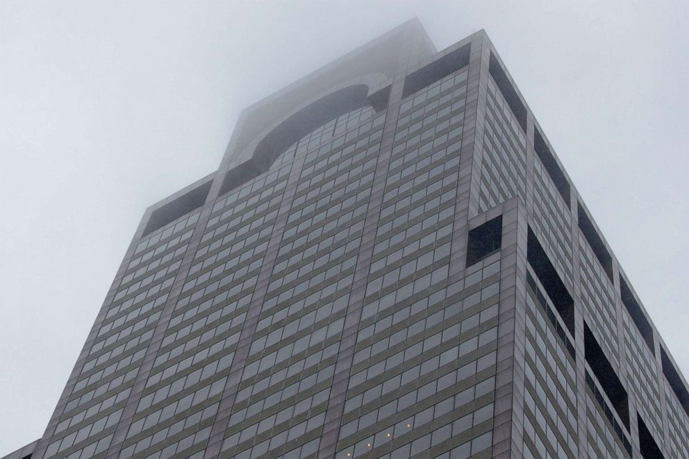 PHOTO: A view of 787 7th Avenue in midtown Manhattan where a helicopter was reported to have crashed in New York, June 10, 2019.