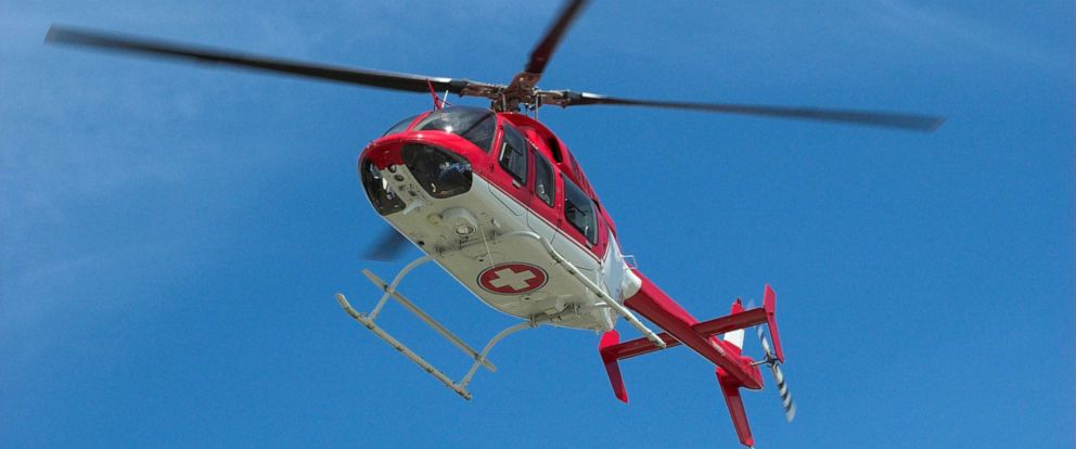 PHOTO: Medical helicopter takes off in clear skies.