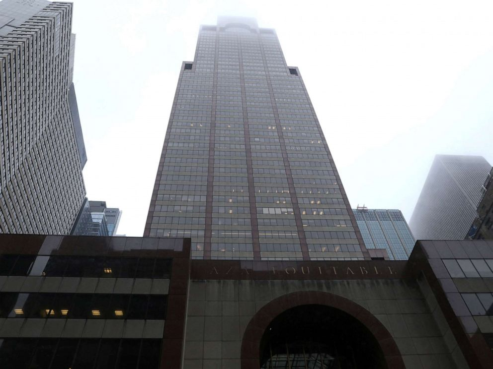 PHOTO: A view of 787 7th Avenue in midtown Manhattan where a helicopter was reported to have crashed in New York on June 10, 2019.