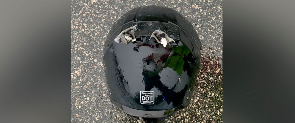 PHOTO: The Florida Highway Patrol released this image of a helmet after a motorcyclist was struck by lightning, June 9, 2019.