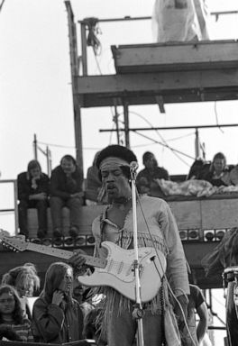 PHOTO: Jimi Hendrix performs his legendary 2 hour performance at Woodstock Music & Arts Festival held on Sam Yasgurs alfalfa field in Sullivan County in Bethal, New York, Aug. 18, 1969.