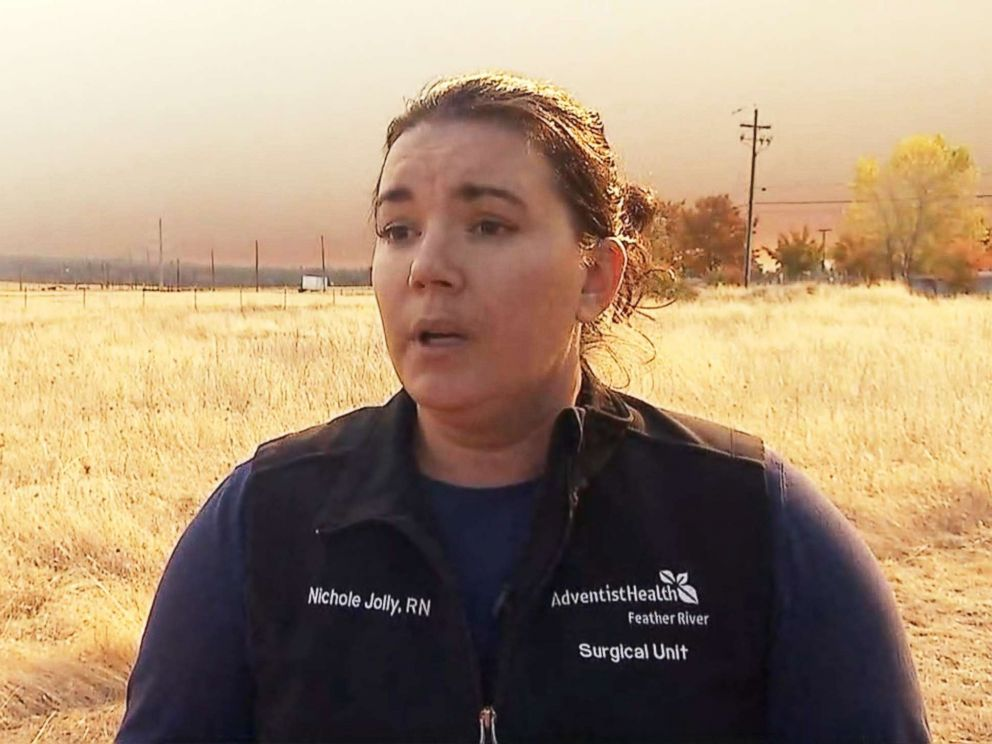 PHOTO: Nurse Nichole Jolly talks to ABC News about evacuating the Feather River Hospital in Paradise, Calif., as the Camp Fire approached.