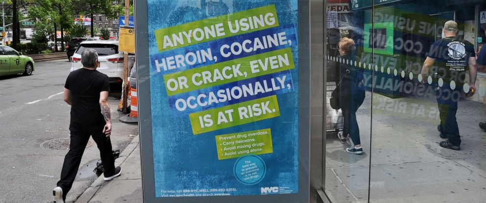 PHOTO: An ad seen on a New York City bus shelter on June 21, 2019, warns of the dangers of mixing drugs with the synthetic opioid fentanyl as part of the NYC Health Departments effort to combat overdose deaths.