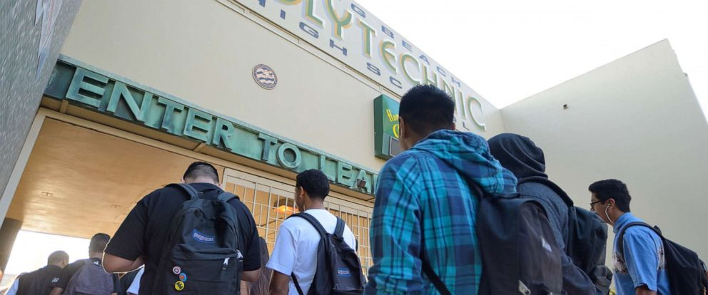 PHOTO: In this Sept. 3, 2014, file photo, students enter Poly High School in Long Beach, Calif. on the first day of school.