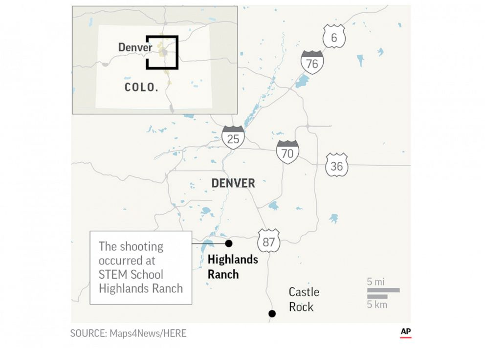 PHOTO: STEM School Highlands Ranch and Highlands Ranch, Colo. are located on a map released by the Associated Press after a shooting at the school.