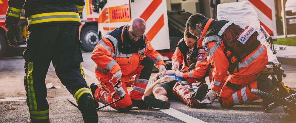 PHOTO: An undated stock photo or paramedics at what appears to be a hit and run.