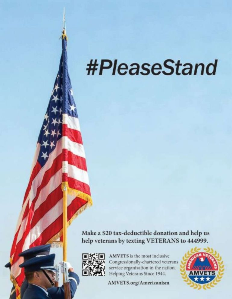 AMVETS says their ad for the Super Bowl program was rejected due to the #PleaseStand hashtag.