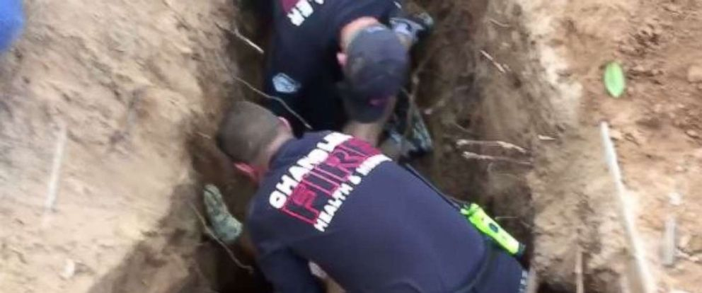 Chandler Fire dug out the dog with a backhoe on Wednesday afternoon.