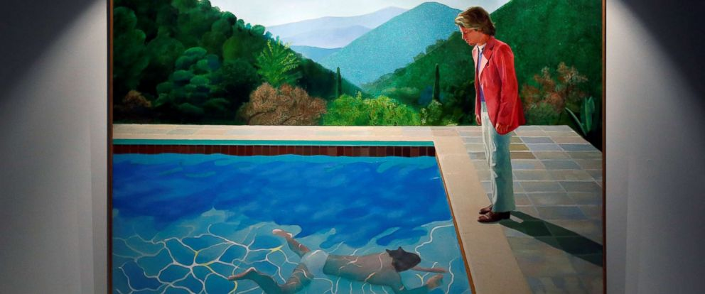 """PHOTO: David Hockneys """"Portrait of an Artist (Pool with Two Figures)"""" is displayed at Christies preview in Hong Kong, Sept. 27, 2018."""