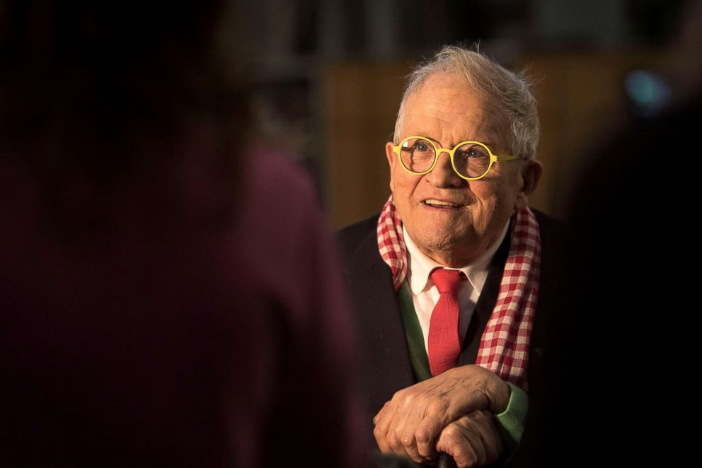 British artist David Hockney poses inside Westminster Abbey, where he has designed a new stained glass window, in London, Sept. 26, 2018.