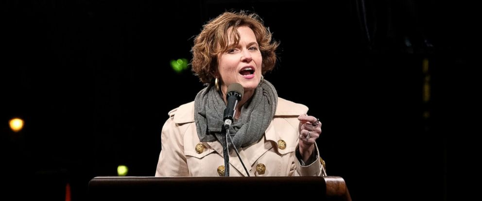 PHOTO: Betsy Hodges speaks onstage during the We Stand United NYC Rally outside Trump International Hotel & Tower, Jan. 19, 2017, in New York.