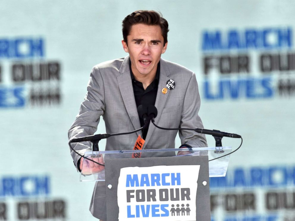 PHOTO: Marjory Stoneman Douglas High School student David Hogg speaks during the March for Our Lives Rally in Washington, D.C., March 24, 2018.