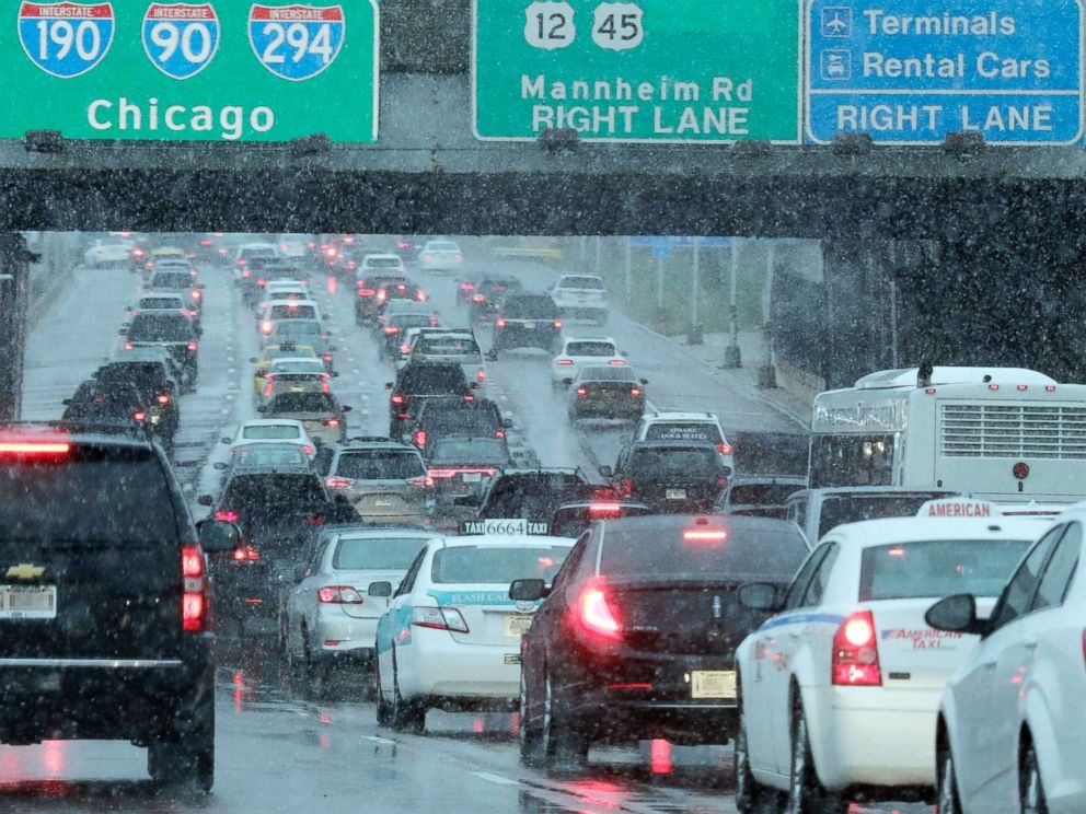 PHOTO: Heavy traffic is seen on Interstate 190 near OHare International Airport in Chicago, Nov. 25, 2018.