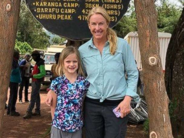 PHOTO: Hollie Kenney and her 7-year-old daughter, Montannah, pose before starting their climb on Mount Kilimanjaro.