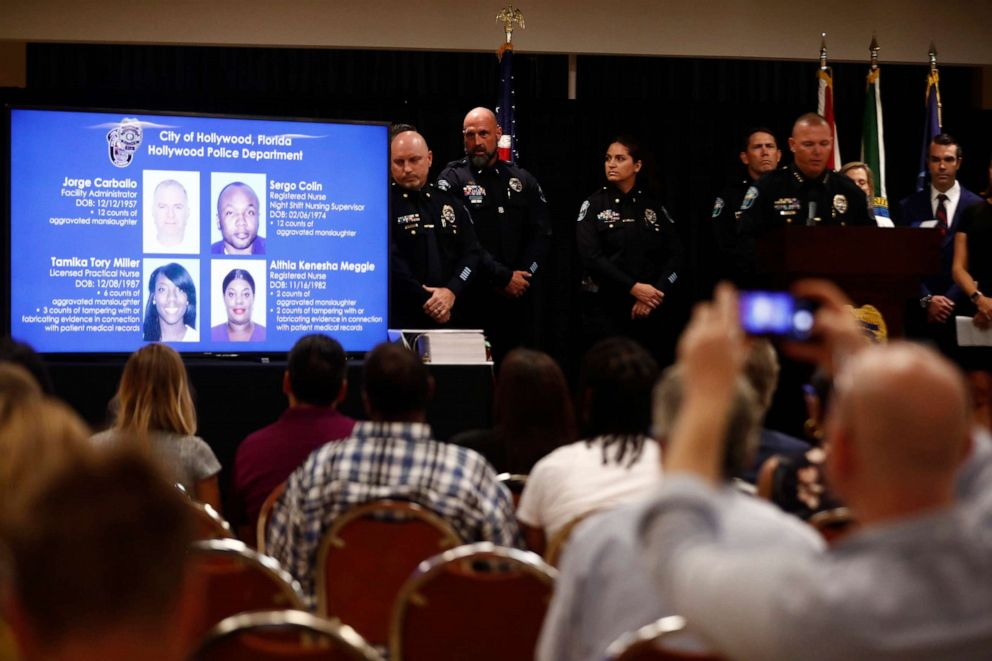 PHOTO: Hollywoods police chief Chris OBrien speaks during a news conference in the case against a Florida nursing home where 12 patients died in sweltering heat after Hurricane Irma in 2017 on, Aug. 27, 2019, in Hollywood, Fla.