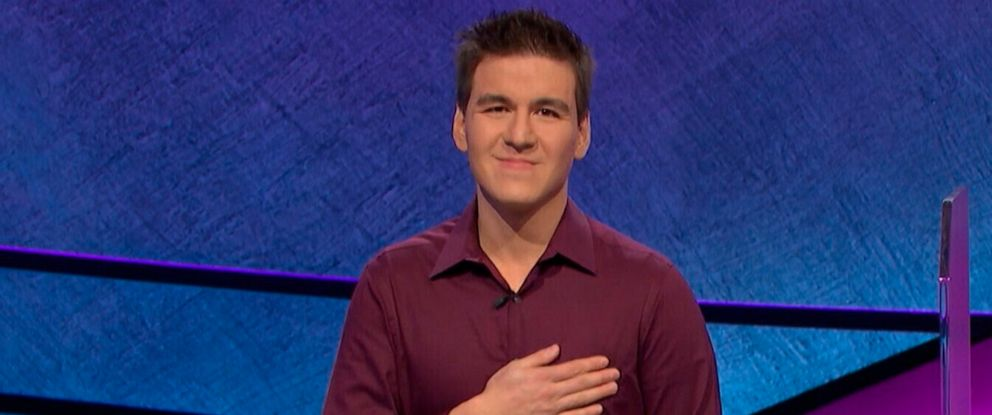 "PHOTO: This image made from video aired on ""Jeopardy!"" on Tuesday, April 9. 2019, and provided by Jeopardy Productions, Inc. shows James Holzhauer."