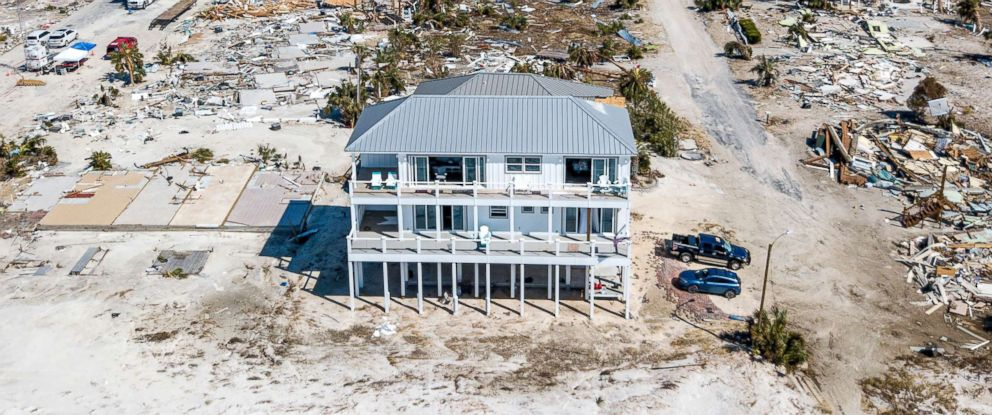 PHOTO: The home Russell King and his nephew Lebron Lackey had built to withstand 250-mph winds in Mexico Beach, Fla., Oct. 14, 2018, is seen still standing after Hurricane Michael passed through the area.