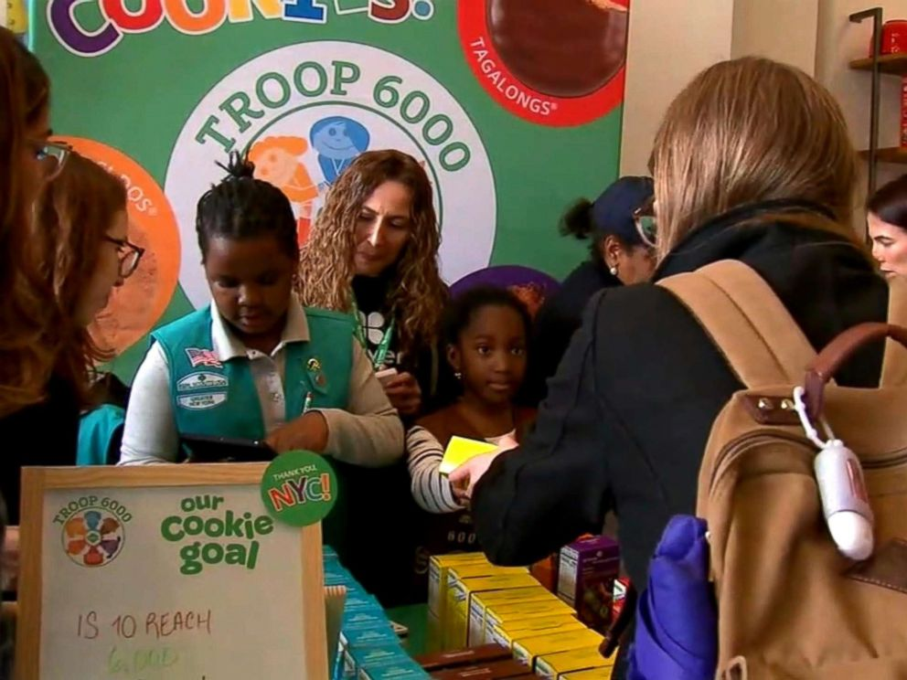 Scout Troop 6000 New Yorks first homeless shelter-based troop hold their first cookie sale in Union Square Manhattan in April 2018