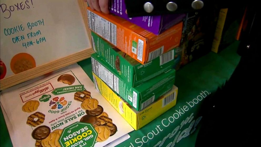 Boxes of Girl Scout cookies are stacked at the Troop 6000 cookie sale in New York's Union Square in April 2018.