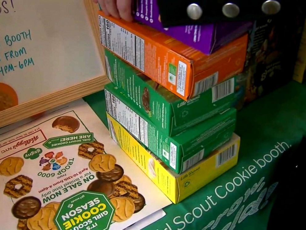 PHOTO: Boxes of Girl Scout cookies are stacked at the Troop 6000 cookie sale in New Yorks Union Square in April 2018.