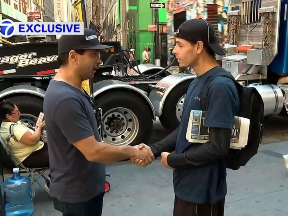 PHOTO: Joe Arroyo, a homeless man, meets with Andrew Zurica. Zurica saw a WABC-TV piece about Arroyo receiving shoes and socks from a stranger and wanted to meet him and offer him a job.