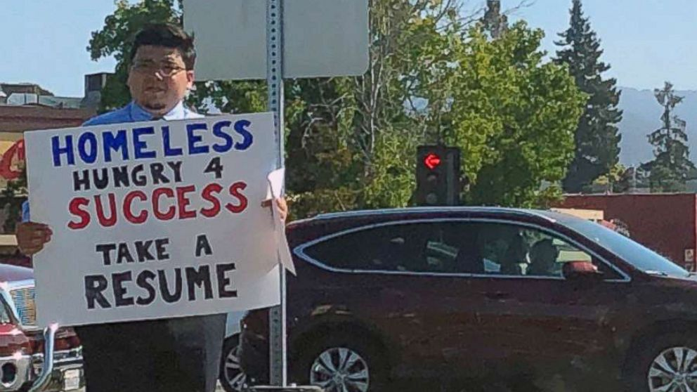 David Casarez handed out resumes on a street corner in Mountain View, California looking for a job opportunity.