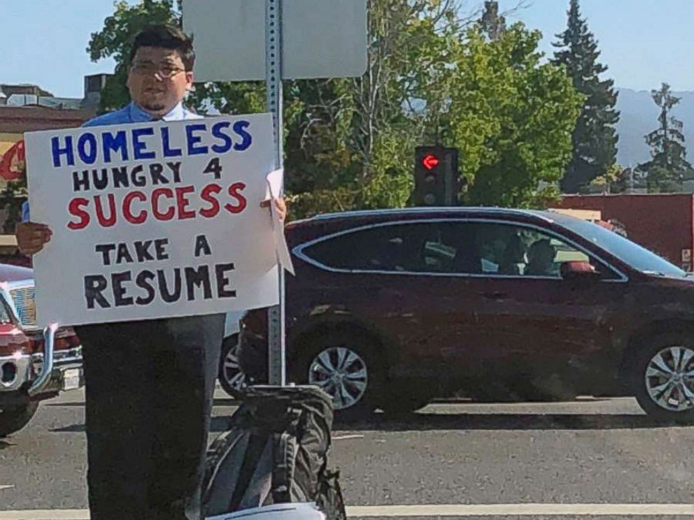 PHOTO: David Casarez handed out resumes on a street corner in Mountain View, California looking for a job opportunity.