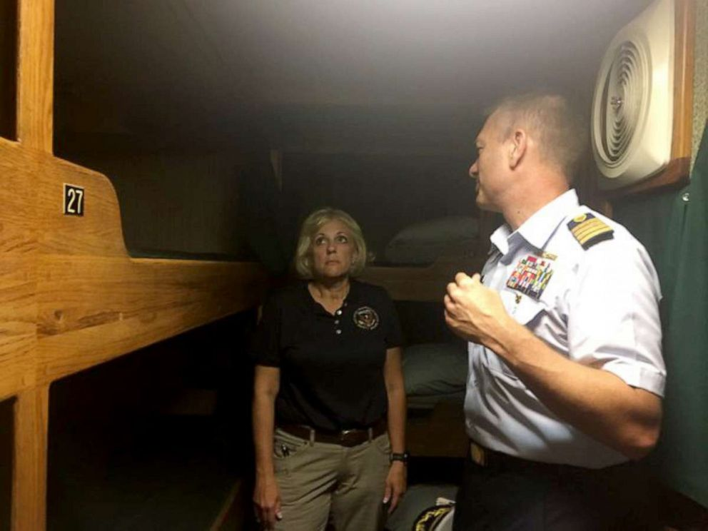 PHOTO: National Transportation Safety Board member Jennifer Homendy tours the Vision, the sister ship of the Conception, which sank in a fire and killed 34 people on board, Sept. 2, 2019.
