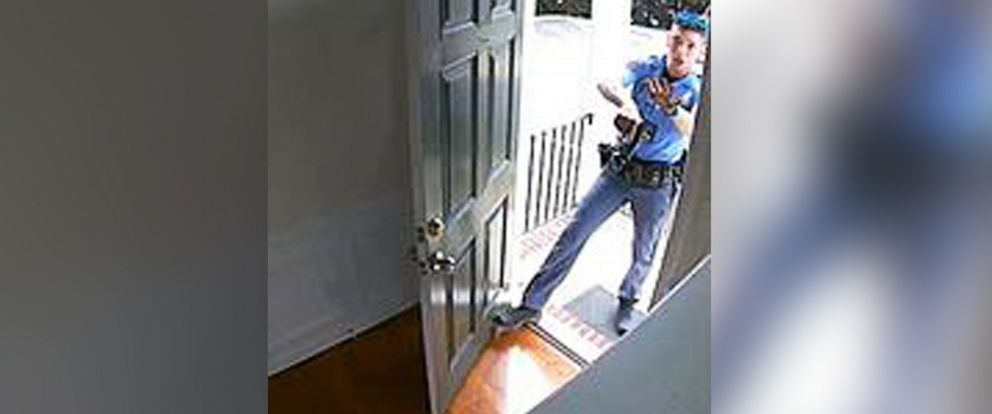 PHOTO: Security video shows a Raleigh, North Carolina, police officer entering Kazeem Oyeneyin's home after answering a calls to investigate a burglary alarm that went off on Aug. 17, 2019.