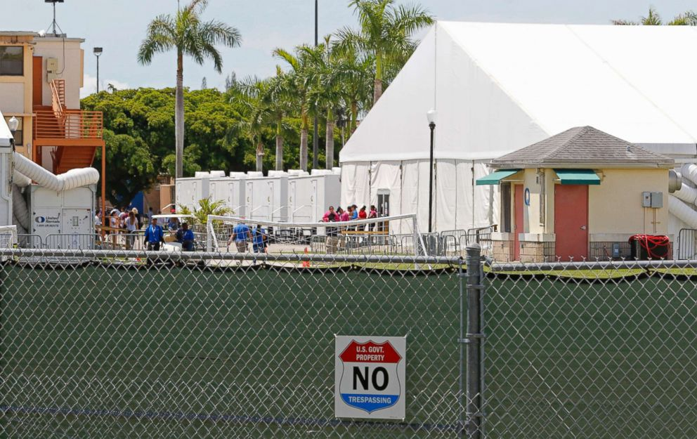 Buildings and air conditioned tents are shown in the  Homestead Temporary Shelter For Unaccompanied Children on June 19, 2018 in Homestead, Florida.