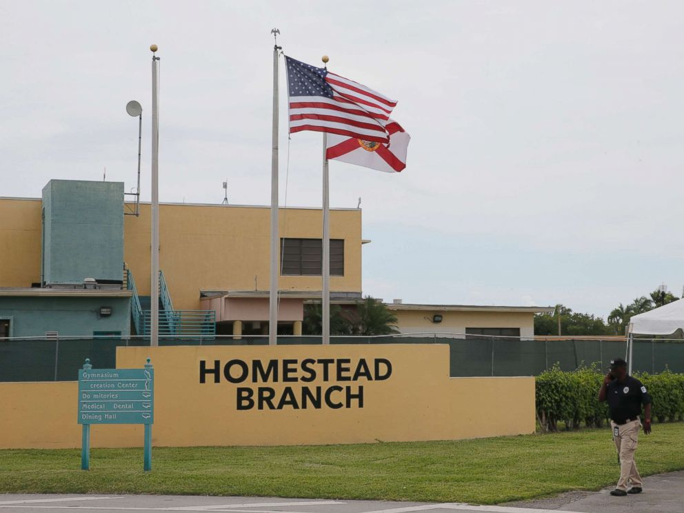 PHOTO: The front gate of the Homestead Temporary Shelter For Unaccompanied Children is shown on June 19, 2018 in Homestead, Fla.