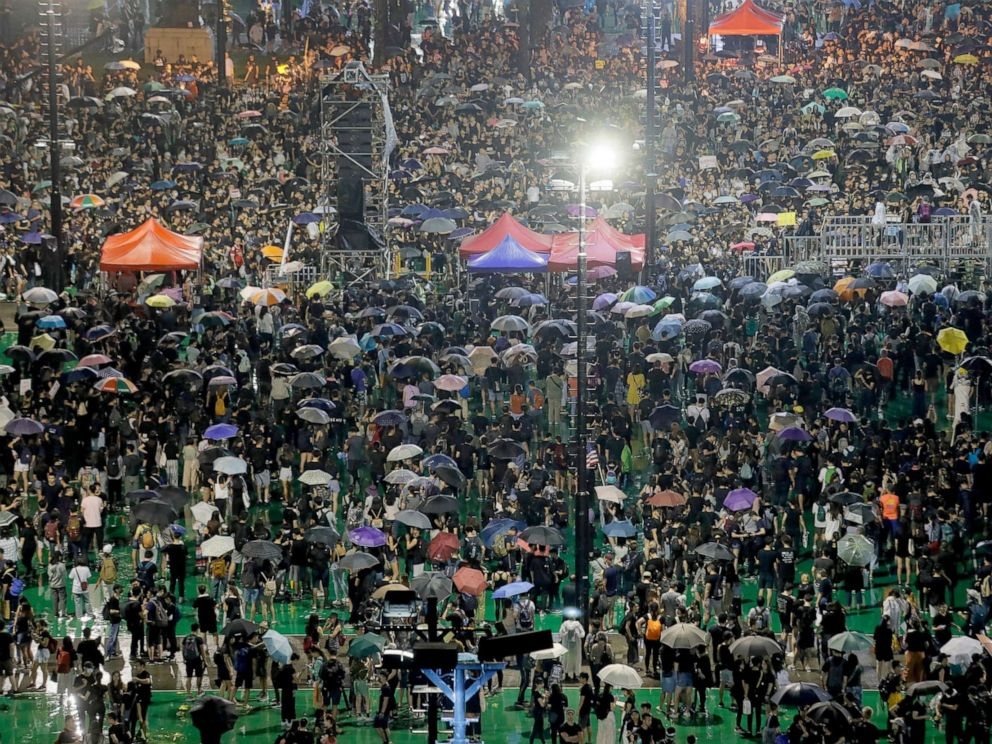 PHOTO: Demonstrators attend a rally at Victoria Park in Hong Kong, Aug. 18, 2019.