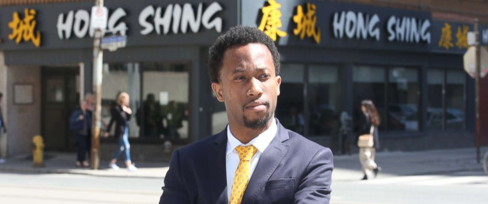 PHOTO: Emile Wickham stands in front of the Hong Shing Chinese restaurant in Toronto on April 30, 2018.