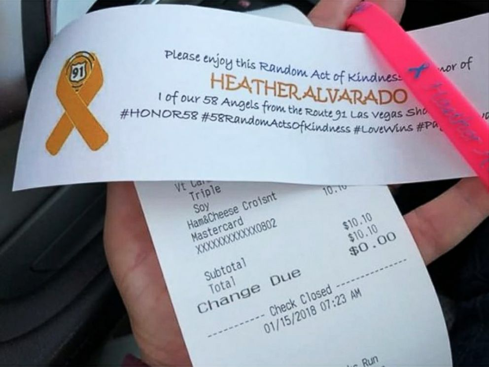 PHOTO: Tommy Maher made his 9th random act of kindness along his 9500-mile journey honoring Las Vegas victims by buying breakfast for the car behind him in honor of Heather Alvarado.