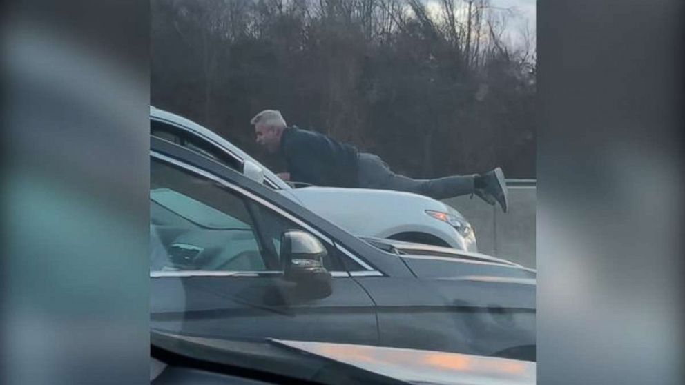 Richard Kamrowski, 65, clung to the hood of a car driving by a man he got involved in a road-rage incident on the Massachusetts Turnpike, Jan. 25, 2019.