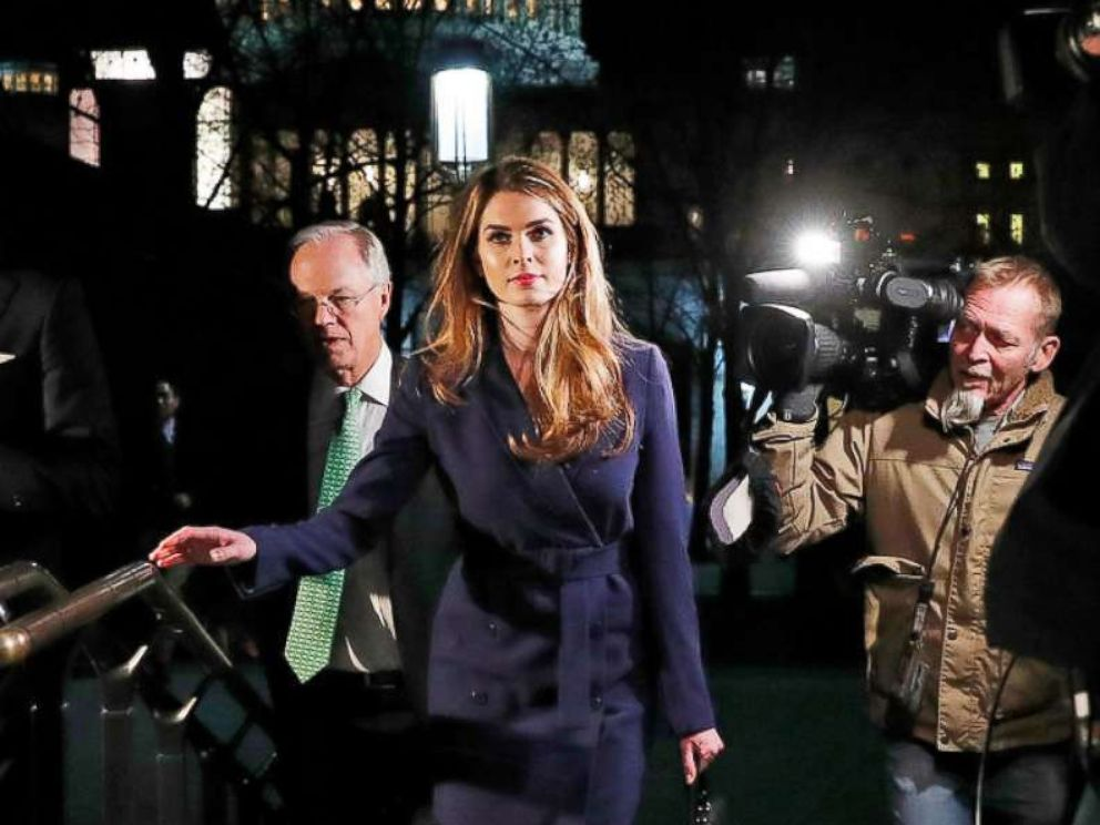 PHOTO: White House Communications Director Hope Hicks leaves after attending the House Intelligence Committee closed door meeting in Washington, Feb. 27, 2018.