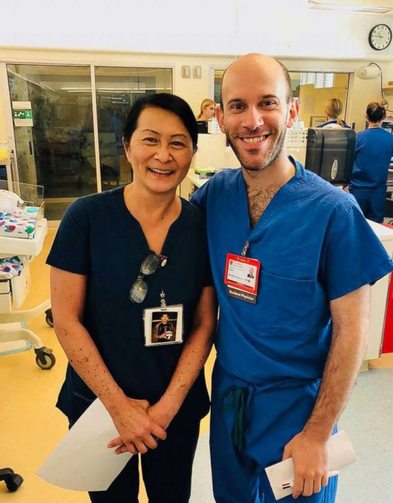 PHOTO: Nurse Vilma Wong and Doctor Brandon Seminatore pose for a photo together at Lucile Packard Childrens Hospital Stanford in Palo Alto, Calif., in 2018.