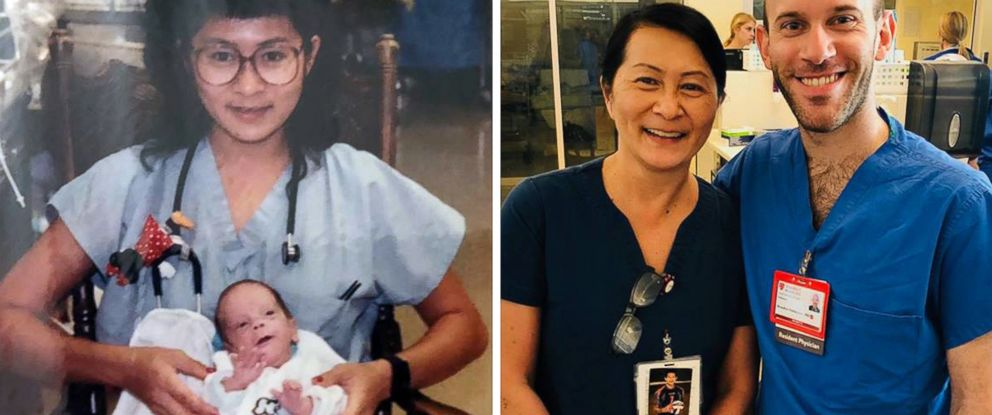 PHOTO: Nurse Vilma Wong and Dr. Brandon Seminatore are pictured in 1990 and 2018 at Lucile Packard Childrens Hospital Stanford in Palo Alto, Calif.
