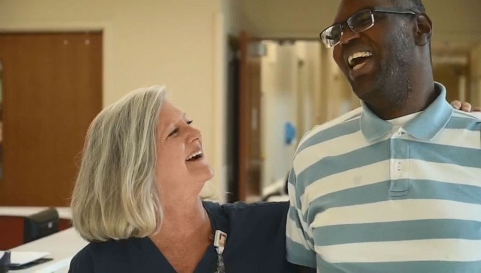 PHOTO: Piedmont Newnan Hospital posted video on Facebook announcing an award for ICU nurse Lori Wood after she adopted a 27-year-old man with autism so he could have heart surgery.