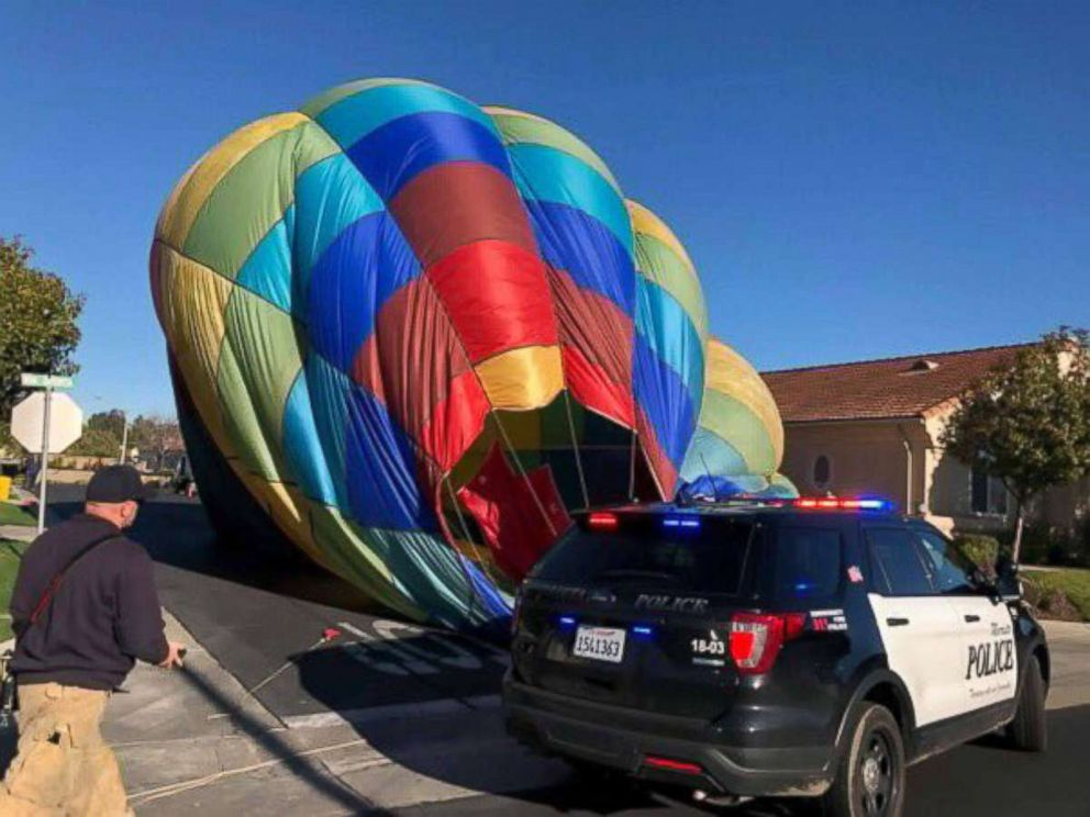 PHOTO: A hot air balloon was forced to make an emergency landing in Murrieta, Calif., Feb. 7, 2019.
