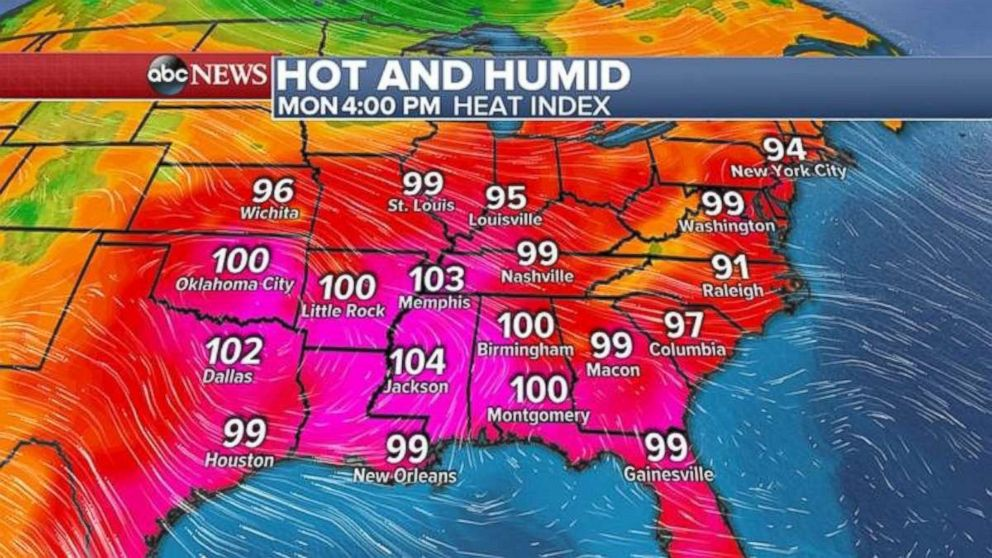 The hot weather will continue in the eastern U.S. through Monday.