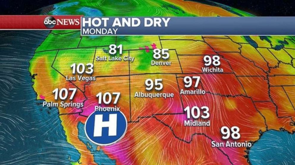 Temperatures are in the high 90s and over 100 in many areas across the Southwest.  Wildfires continue to burn as West hit with near-record heat hot dry abc mo 20180611 hpEmbed 16x9 992