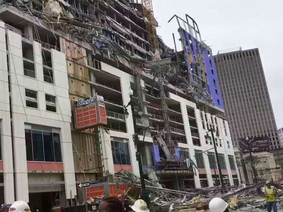 WWL-TV shows the scene after a large portion of the Hard Rock Hotel which is under construction suddenly collapsed Oct. 12 2019 in New Orleans