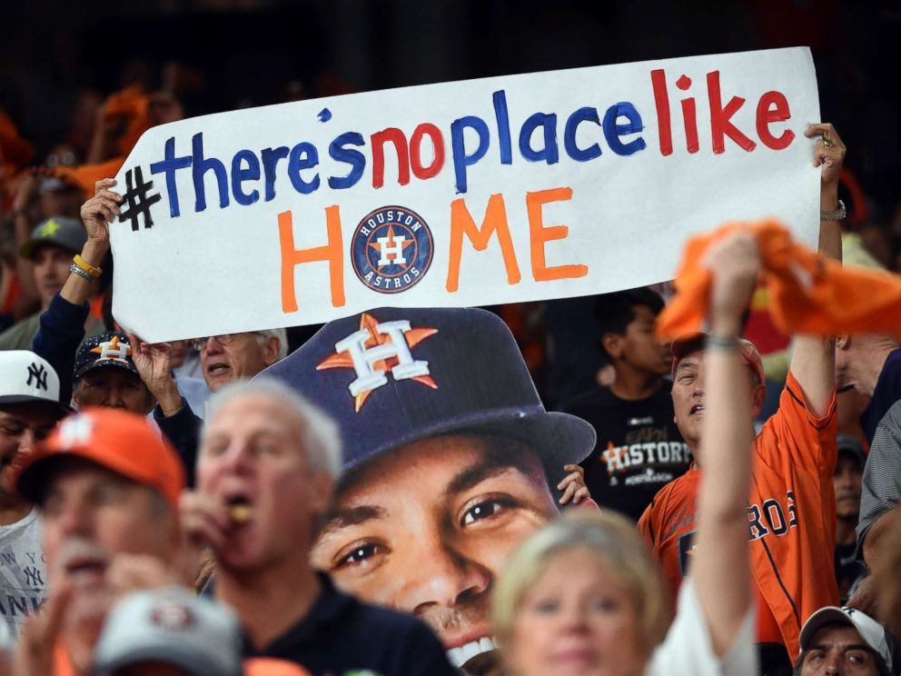 PHOTO: Astros fans hold up a sign before Game 6 of the American League Championship Series between the New York Yankees and the Houston Astros at Minute Maid Park on Oct. 20, 2017 in Houston.