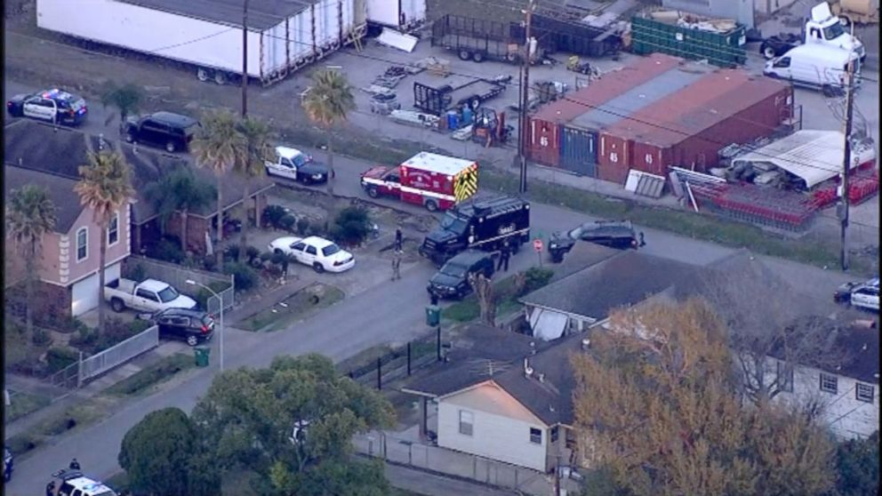 First responders on the scene in Houston where multiple police officers were shot, Jan. 28, 2019, in Houston.