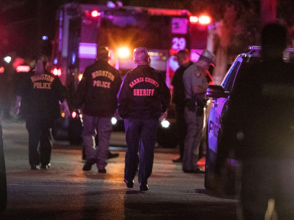 PHOTO: Police investigate the scene where several Houston Police officers were shot in Houston on Monday, Jan. 28, 2019.