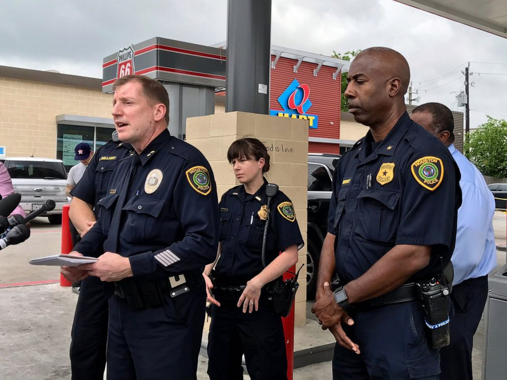 PHOTO: Police officials talk about an apparent road rage incident where a 1-year-old-boy was shot near a Philips 66 gas station in southwest Houston, May 1, 2019.