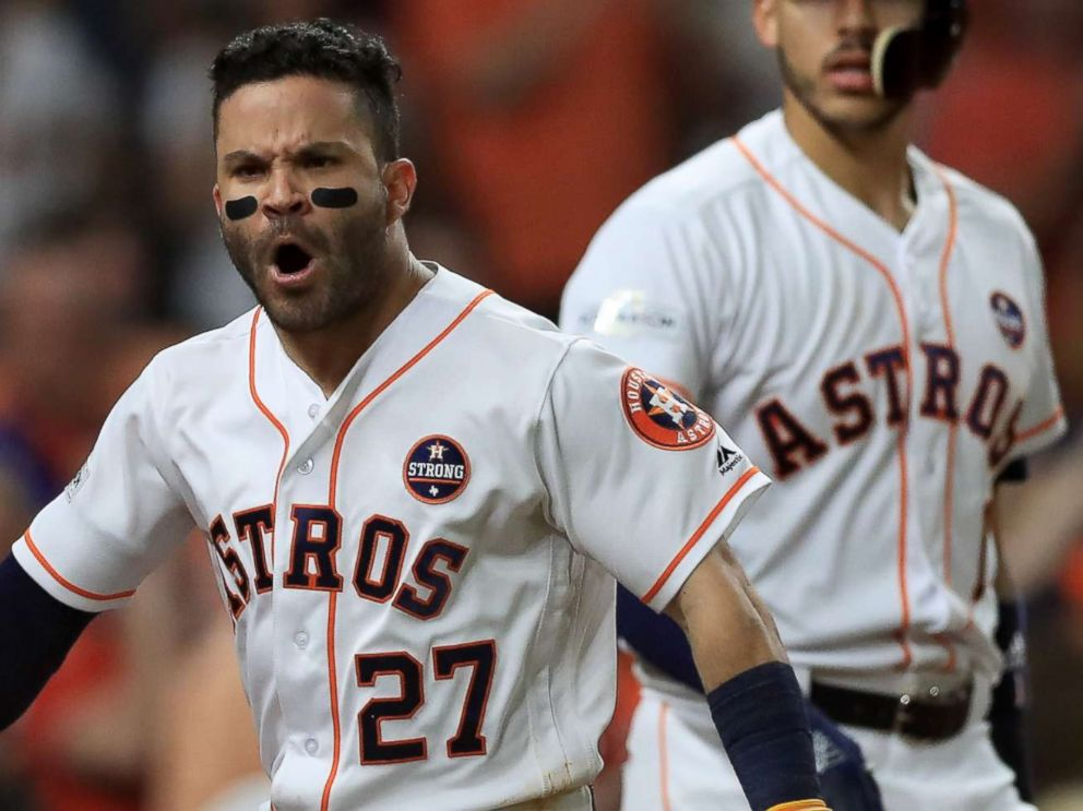 PHOTO: Jose Altuve of the Houston Astros celebrates after hitting a solo home run against the New York Yankees during at Minute Maid Park on Oct. 21, 2017 in Houston.